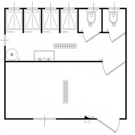 Monoblocco spogliatoio WC e docce